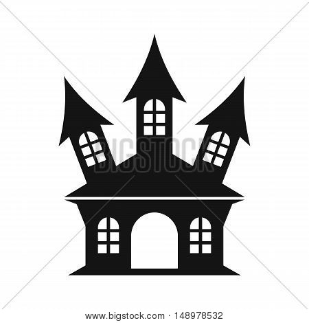 Halloween or witch castle icon in simple style on a white background vector illustration