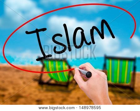 Man Hand Writing Islam With Black Marker On Visual Screen