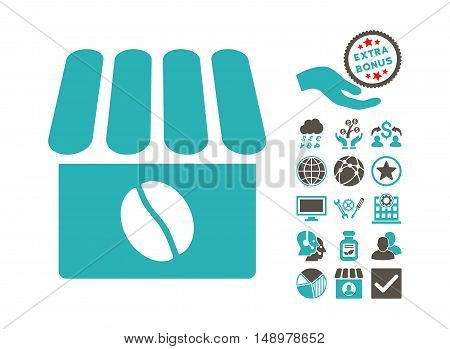 Coffee Shop pictograph with bonus images. Vector illustration style is flat iconic bicolor symbols grey and cyan colors white background.