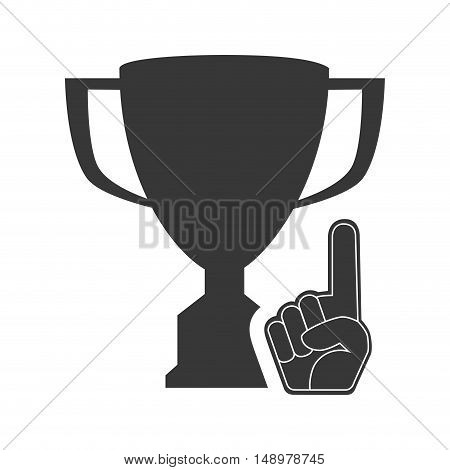 trophy winner cup with sport hand foam finger icon silhouette. vector illustration
