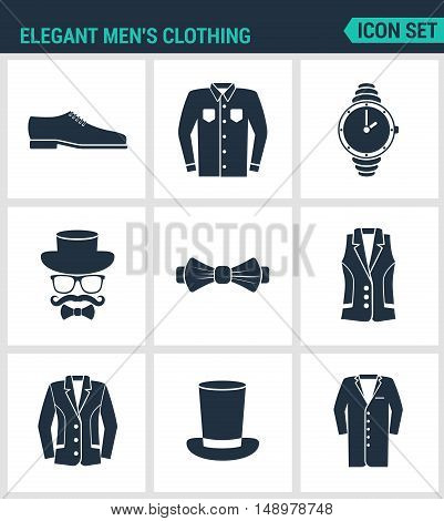 Set of modern vector icons. Elegant men s clothing shoes shirt hat watches glasses butterfly vest jacket hat cone coat. Black sign on white background. Design isolated symbols and silhouettes.