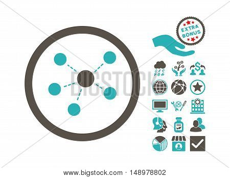 Connections icon with bonus images. Vector illustration style is flat iconic bicolor symbols grey and cyan colors white background.