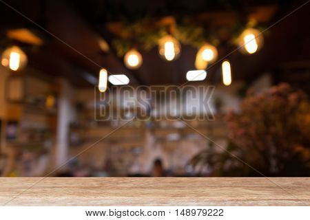 Wood Table With Coffee Shop Restaurant