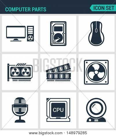 Set of modern vector icons. Computer parts Computer hard drive mouse video card RAM cooler mykrofon CPU cycles webcam. Black sign on white background. Design isolated symbols and silhouettes.