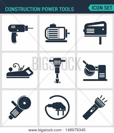Set of modern vector icons. Construction Power Tools Drill prefarator saw planer pneumatic hammer Bulgarian socket Lantern. Black signs white background. Design isolated symbols silhouettes