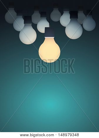 Business creativity concept with lightbulb turned on. Creative sign vector concept background. Eps10 vector illustration