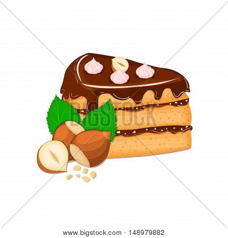 Piece of cake with nuts. Vector sliced portion of sponge cake with creamy hazelnut layer, decorated with chocolate cream and crushed walnut on white background for menu design, coffee, confectionery