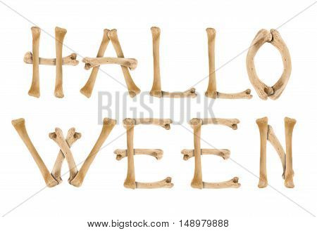 Word Halloween made of crossed bones isolated on white. Halloween concept. Resource for your design.
