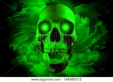 Skull with glowing eyes on spiral clouds background. Halloween concept. Gothic concept. Horror concept.