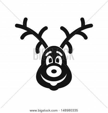 Christmas deer icon in simple style on a white background vector illustration