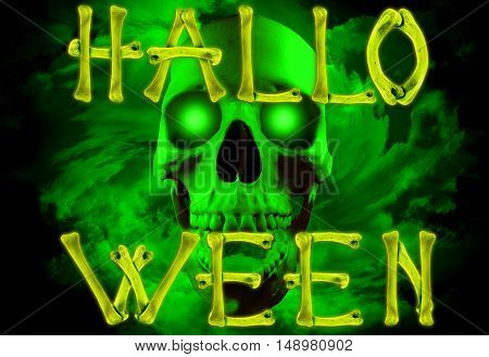 Word Halloween made of crossed bones on creepy background with skull and green spiral clouds. Halloween concept.