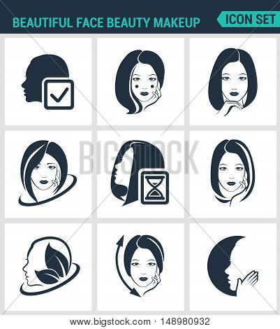 Set of modern vector icons. Beautiful face beauty makeup facial hair skin cosmetics. Black signs on a white background. Design isolated symbols and silhouettes