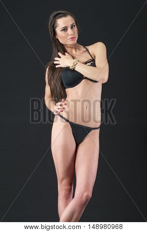 beautiful attractive young women posing with underwear in studio