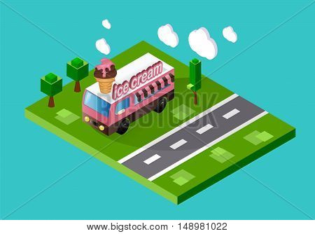 Ice cream truck standing on the street. Stock vector color isometric illustration.