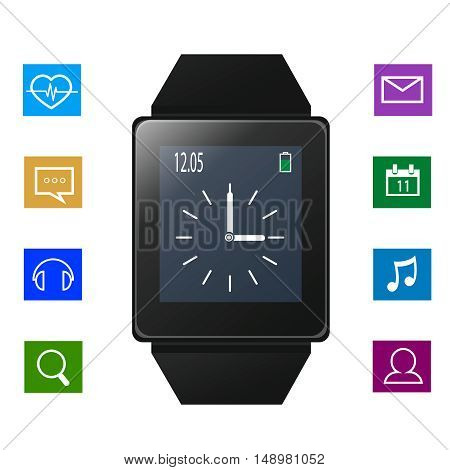 Smart watch with icons near gadget, EPS10
