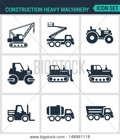 Set of modern vector icons. Construction heavy machinery tractor lift crane roller bulldozer dump truck barrel. Black signs on a white background. Design isolated symbols and silhouettes.
