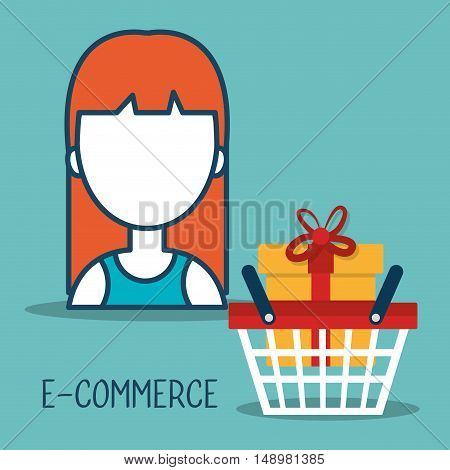 avatar woman with shopping and ecommerce icon. colorful design. vector illustration