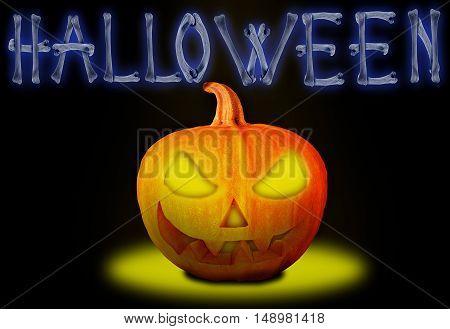 Word Halloween made of crossed bones and Halloween pumpkin. Halloween concept.
