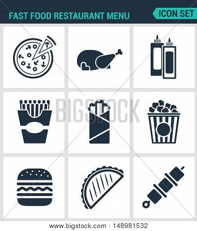 Set modern vector icons. Fast food restaurant menu pizza chicken ketchup mayonnaise French fries shawarma popcorn cheeseburger hamburger kebab cheburek. Black signs white background isolated