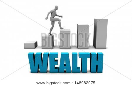 Wealth 3D Concept  in Blue with Bar Chart Graph 3D Illustration Render