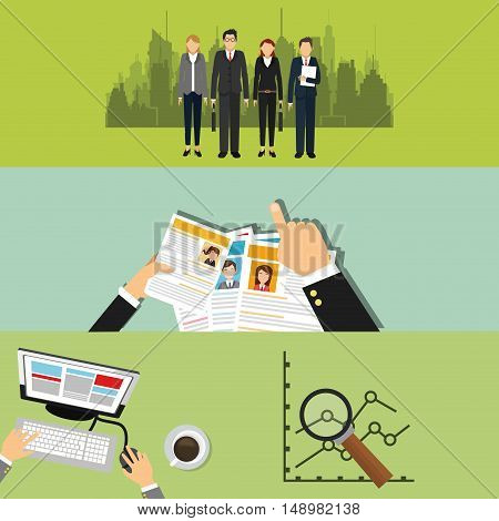 executive person in suit with chart graph and cv business related icons image vector illustration
