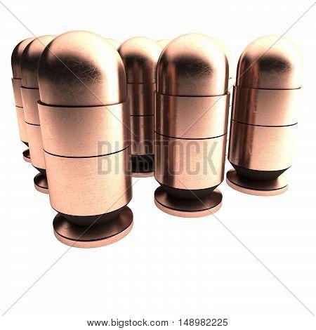 Bronze Bullets In Rows