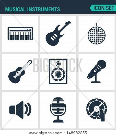 Set of modern vector icons. Musical instruments piano guitar disco ball speaker microphone speaker sound DJ. Black signs on a white background. Design isolated symbols and silhouettes.