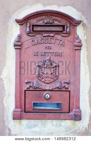 Old Italian Mailbox in a wall vertical image