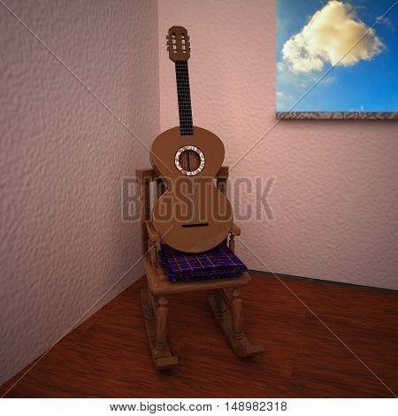 Guitar over rocking chair in a room 3d rendering