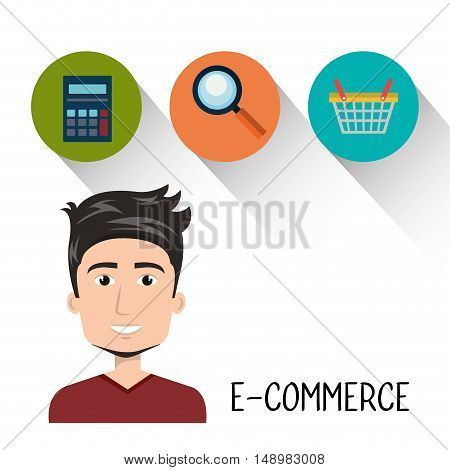 avatar man with shopping and ecommerce icon set. vector illustration