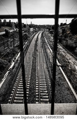 Train Tracks In Sant Cugat Del Valles Catalonia