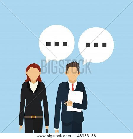 executive person in suit with conversation bubble business related icons image vector illustration