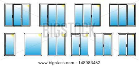 Varieties of PVC windows. Vector Illustration. EPS10
