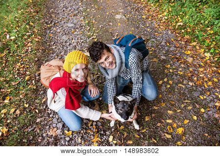 Beautiful couple with dog on a walk in colorful autumn forest, crouching.