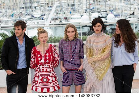 Soko, Stephanie Di Giusto, Gaspard Ulliel, Melanie Thierry, Lily-Rose Depp  at the photocall for The Dancer (La Danseuse) at the 69th Festival de Cannes. May 13, 2016  Cannes, France