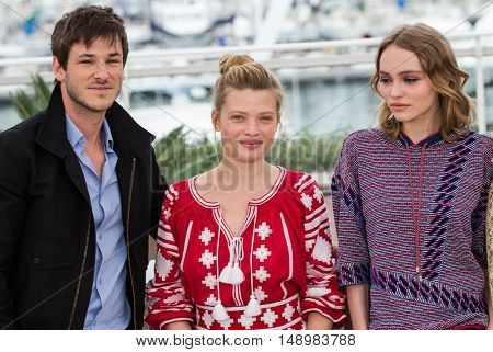 Gaspard Ulliel, Melanie Thierry, Lily-Rose Depp  at the photocall for The Dancer (La Danseuse) at the 69th Festival de Cannes. May 13, 2016  Cannes, France