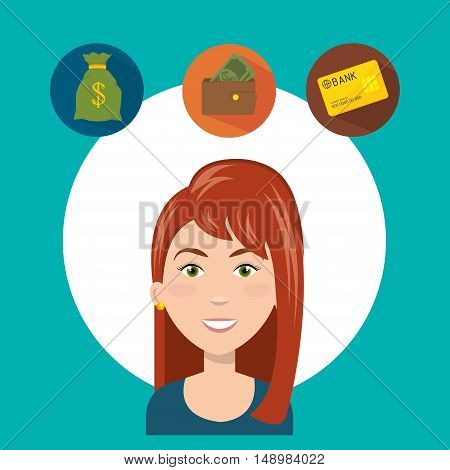 avatar woman smiling with shopping and ecommerce icon set. colorful design. vector illustration