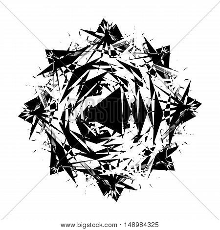 Black and White Abstract Psychedelic Art Background. Vector Illustration. EPS10