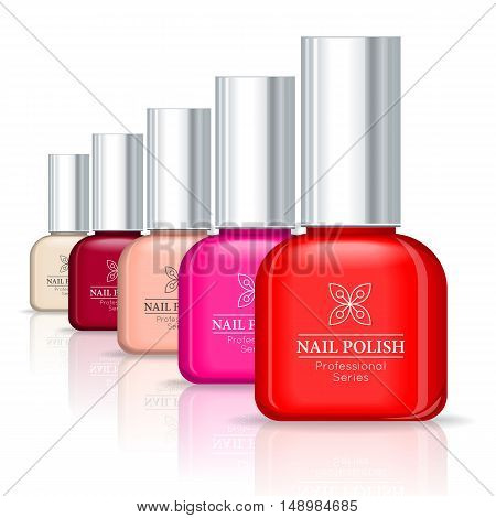 Nail polish professional series. Set of glass tube with different colors nail polish. Product for body and skin care, beauty, health, freshness, youth, hygiene. Realistic vector illustration.
