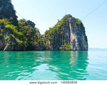 Tropical landscape. Railay beach, Krabi, Thailand. View of the rocks