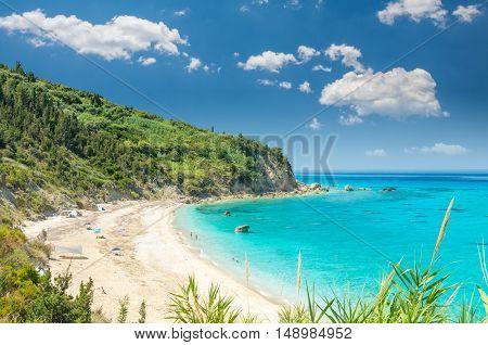 Avali beach, Lefkada island, Greece. Beautiful turquoise sea on the island of Lefkada in Greece.