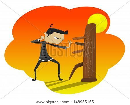 Fun cartoon guy training boxing near the wooden dummy. Asian martial arts concept illustration. Vector