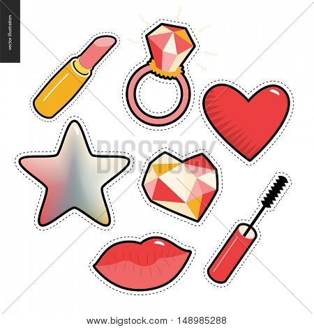 Patches, hand drawn vector stickers set. A set of few cartoon hand drawn elements. Lipstick, ring with a huge diamond, heart, star, lips, mascara brush and a diamond heart.