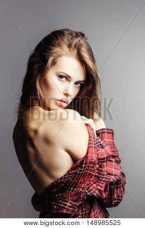 Pretty Girl In Red Checkered Shirt