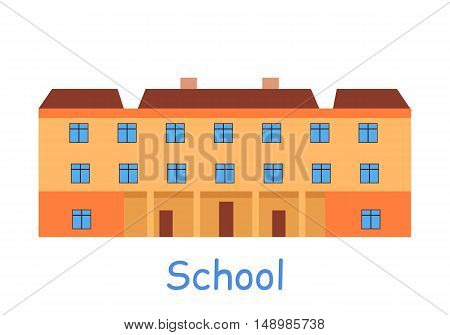 School building icon. Orange building with brown roof. Three-storey building. School icon. Building icon. Simple drawing. Isolated vector illustration on white background.
