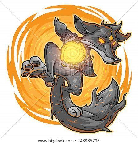 Vector illustration of a cartoon monster fire fox.