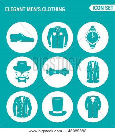 Vector set web icons. Elegant men clothing shoes shirt hat watches glasses butterfly vest jacket hat coat. Design of signs symbols on a turquoise background