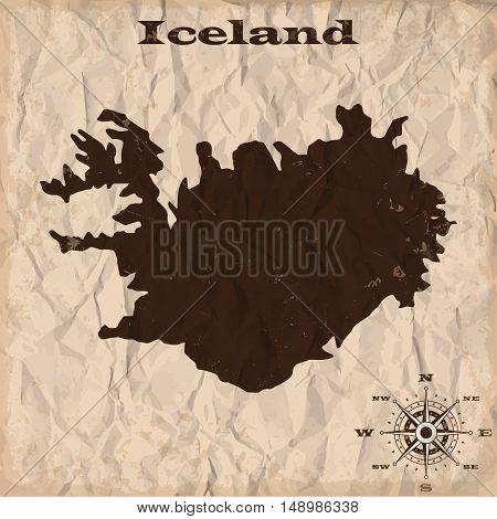 Iceland old map with grunge and crumpled paper. Vector illustration