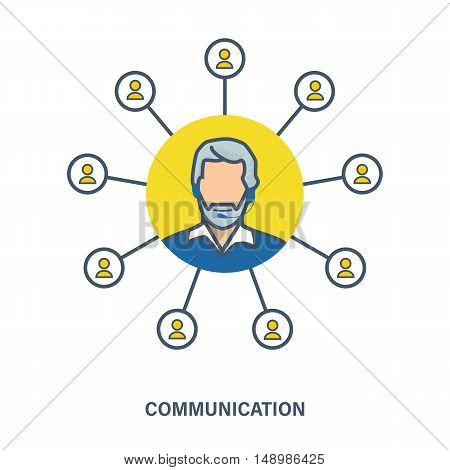 Illustration on interaction between people by means of dialogues, various communications and technologies. Vector graphics. It can be used in banners, advertising materials and commercial information.