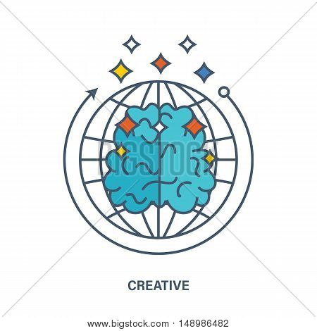 Illustration essence in display of creative thinking, creativity and creation. Creative concept of the idea. The vector graphics can be used for a banner, web-design, a brochure template.
